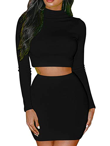 GOBLES Women's 2 Piece Skirt Sets Long Sleeve Bodycon Elegant Dress Outfits Black