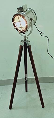 Hollywood Chrom Marine Designer Spotlight Suchleuchte Deko Stehlampe mit Holzstativ