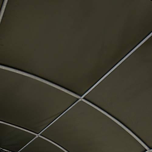 TOOLPORT Robustes Weidezelt 6x6 m feuersicher 720 g/m² PVC Plane Unterstand für Pferde Offenstall Stall, für Betonboden, grün - 5