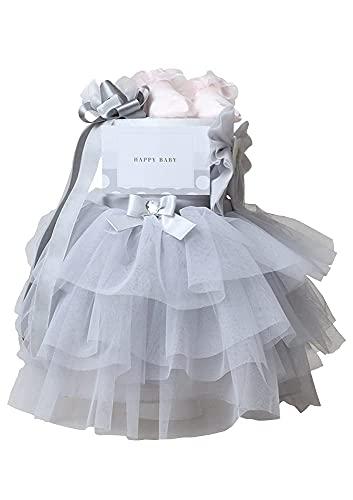 おむつケーキ研究所 おむつケーキ 女の子 出産祝い ドレス ベビーシャワー チュチュ オムツケーキ スカート ヘアバンド ソックス ギフトセット ダイパーケーキ グレー パンパーステープタイプSサイズ