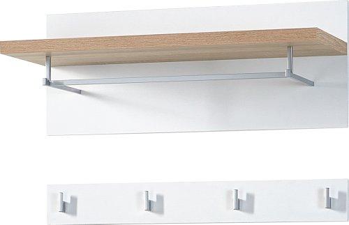 Preisvergleich Produktbild Germania 3193-178 2-tlg. Garderobenpaneel GW-Top in Weiß / Absetzung Sonoma-Eiche-Nachbildung,  76 x 45 x 30 cm (BxHxT)