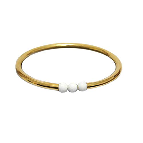 JewelryGift Pearl White Gemstone Bangle 18k Gold Plated Fashion Jewelry Bracelets for Girls 2.37