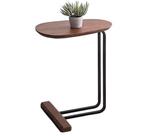 Sofa Side Tables, Solid Wood Side Table, Home Bedroom Living Room Sofa Side C-shaped Coffee Table Bedside Tray Table Mobile Laptop Desk Design Lounge Table Snack Table