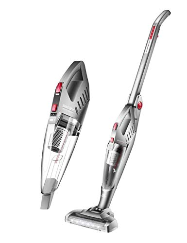 Upright Vacuum Cleaner/Lightweight Vacuum Cleaner Wireless/Rechargeable, Dual Motor/Two-Speed Adjustment, 8500Pa Large Suction, with LED Lights, Foldable Handle (Gray) LUDEQUAN