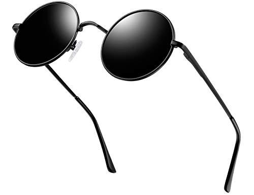 KANASTAL Gafas de Sol Hombre y Mujer Polarizadas Redondas Hippie Steampunk Vintage John Lennon Gafas de Sol con 100% Protección UV400(Negro)