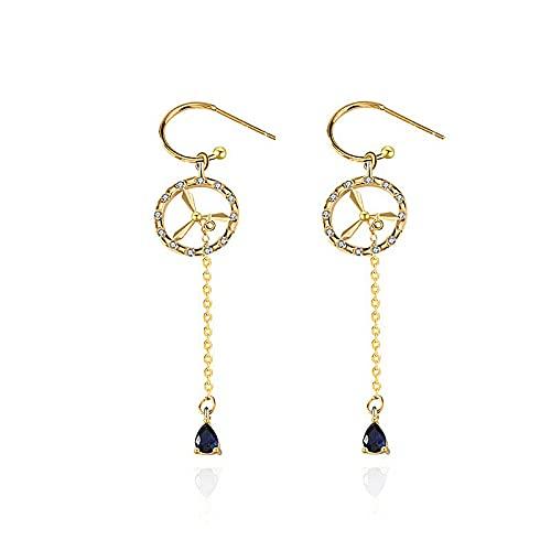 juntao Pendientes largos de borla para mujer, diseño creativo S925, joyería de plata de ley (color de la gema: chapado en oro amarillo)