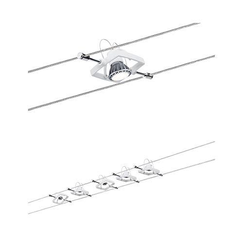 Paulmann 94134 Seilsystem Mac II Weiß Seilleuchte 5 Spots mit Spannseil und Trafo ohne Leuchtmittel max. 10W GU5,3 Lampen frei wählbar