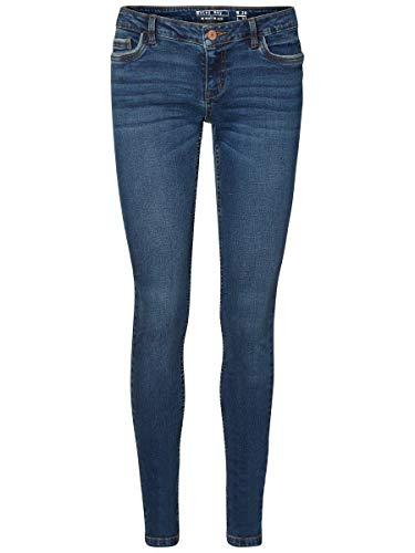 Noisy may Damen Nmeve Lw Pocket Piping Vi877 Noos Slim Jeans, Dark Blue Denim, 28W 32L EU