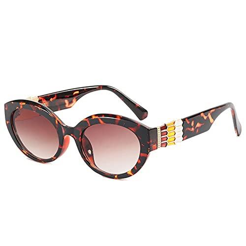 Heigmznvtyj Gafas de Sol Mujer Polarizadas, Gato Ojo pequeño Gafas de Sol señoras Moda triángulo Retro Gafas de Sol Retro Tono Oval (Lenses Color : Leopard)