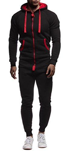 LEIF NELSON Herren Overall Jumpsuit Onesie Trainingsanzug, Schwarz-Rot - 2