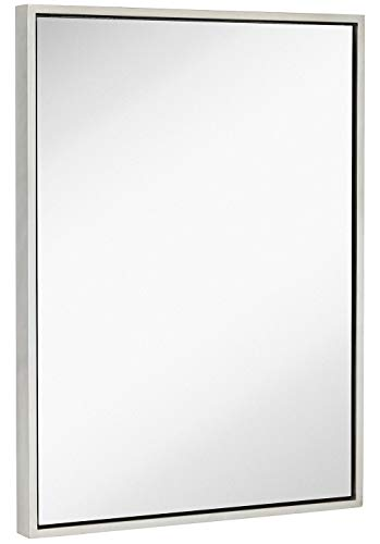 Clean Large Modern Antiqued Silver Frame Wall Mirror | Contemporary Premium Silver -