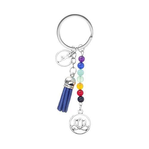 XKMY Llavero para manualidades, diseño de loto con borla para mujer, joyería para yoga, energía, coche, bolso de mano, decoración (color: azul)