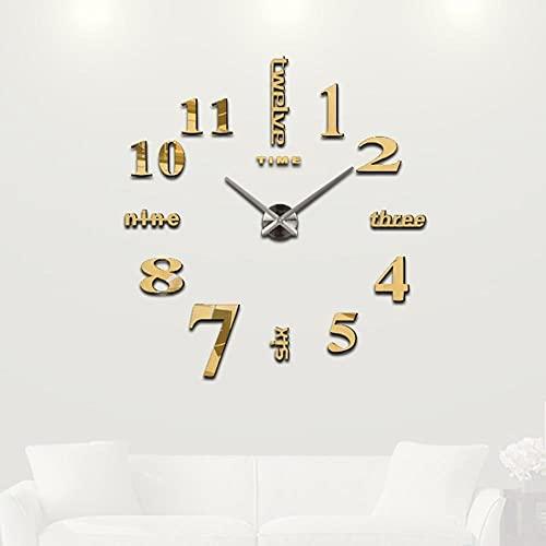 Reloj de Pared de Bricolaje,Decoración del Hogar Relojes de Pared 3D con Espejo Grande,Diseño Moderno Reloj Grande de Bricolaje Reloj Decorativo de Pared
