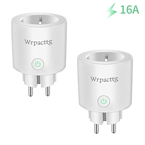 Enchufe Inteligente Wifi Inalámbrico 16A Mini Smart Plug, Funciona Con Alexa Google Home,Control Remoto, Establecer Horario, Monitor Energía, No Se Requiere Hubpacks, 2PCS