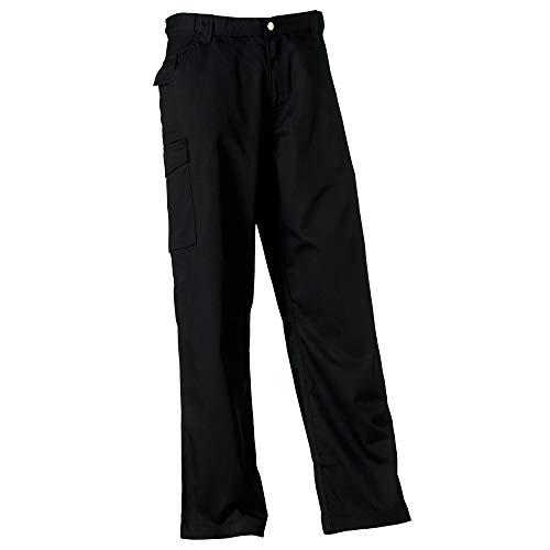 Russell Workwear Polycotton Twill Hose für Männer, Standard Beinlänge (W44 x Regulär) (Schwarz)