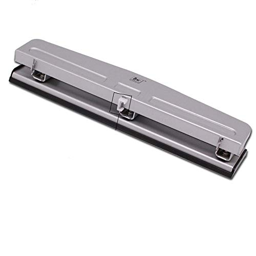 Perforadora de tres agujeros para escritorio, perforadora de agujeros, capacidad de 12 hojas, color plateado