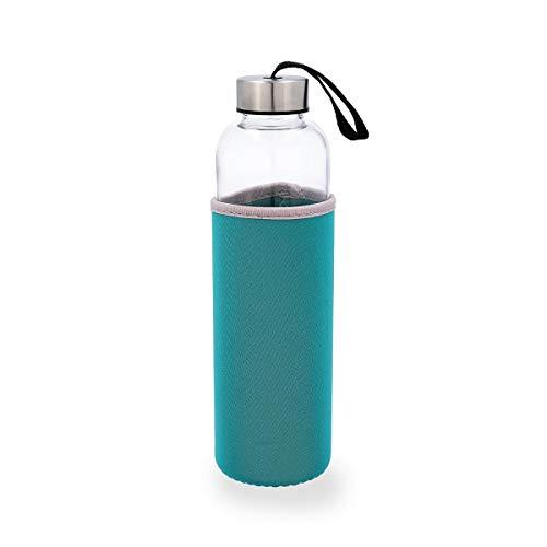 QUID QUIDATE - Botella Vidrio Con Funda Neopreno Turquesa 0,60L