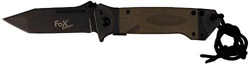 Fox Outdoor Unisex– Erwachsene Coyote MFH-Klappmesser Einhand, mit G10-Griff und Gürtelclip-45531R, Einheitsgröße