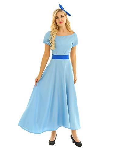 Agoky Disfraz de Princesa Cenicienta para Mujer Cosplay Vestido Largo de Wendy Peter Pans con Tocado Disfraz Fantasía para Fiesta Halloween Azul Claro Small