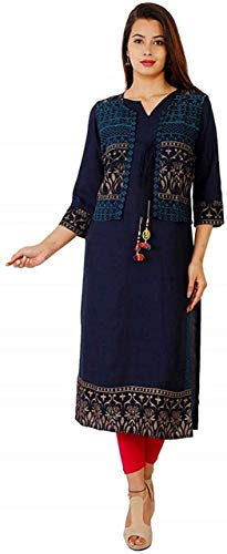 Narsinh Enterprises Rayon Printed Straight Kurti with Jacket for Women's and Girls (XL) Blue