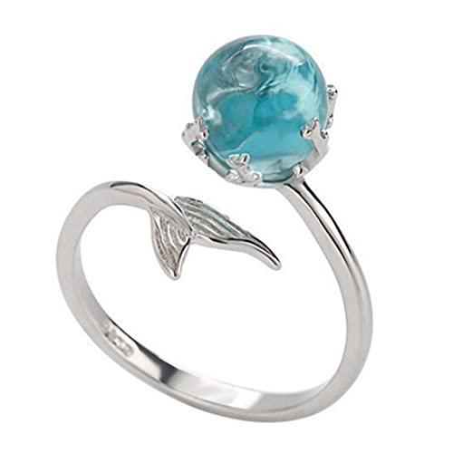 Anillo abierto azul de cristal sirena burbuja anillos abiertos para las mujeres joyería de moda creativa 1