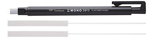 Tombow Präzisionsradierer MONO zero nachfüllbar eckige Spitze, 2.5 mm x 5 mm, schwarz + 2x Refill Radierer