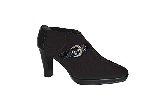 Brighton Leather and Canvas Ankle Booties. Size 40. Made in Italy Black