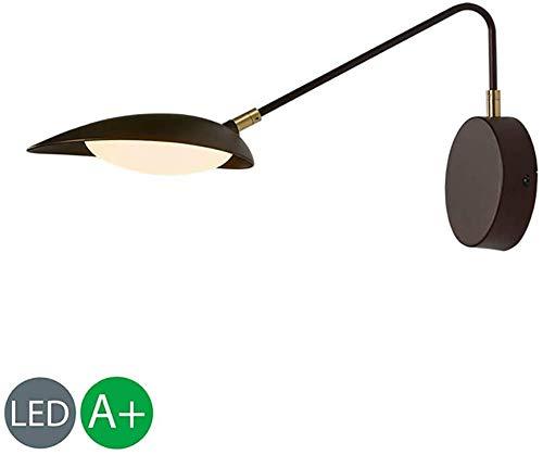 WQ LED 9W Wandleuchte Schwarz Metall, Innen Moderne Nachttisch Wandlampe Leselampe Verstellbar, Acryl Lampenschirm, für Schlafzimmer Wohnzimmer Studieren Flur,Weißeslicht
