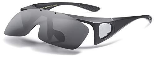 Polarized Sunglasses Fit Over Prescription Glasses for Men Women Flip Up Shield Wrap Around UV400 Driving Fishing Sports Shades