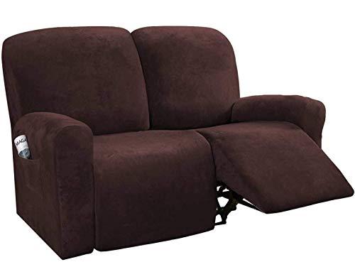 BANNAB Funda elástica para Silla reclinable de 6 Piezas, Protector de Muebles de Terciopelo para sofá reclinable con Bolsillo Lateral Inferior elástico, marrón