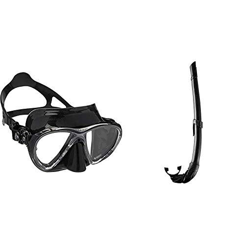 Cressi Big Eyes Evolution - Gafas de Buceo + Corsica EG268550, Tubo Respiradores para Apnea, Snorkeling,Pesca Bubmarina, Buceo. Color Negro/Negro