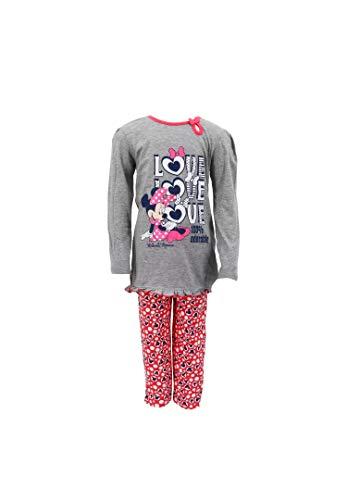 Minnie Mouse Schlafanzug Pyjama für Kinder, Farbe:Grau, Größe:104