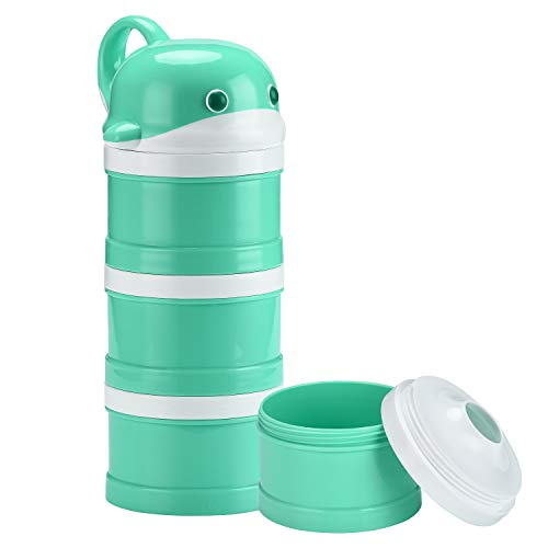 Burabi Baby Travel Formula Dispenser Stackable Portable Snack Container 3 Compartments Non-Spill (Cyan)