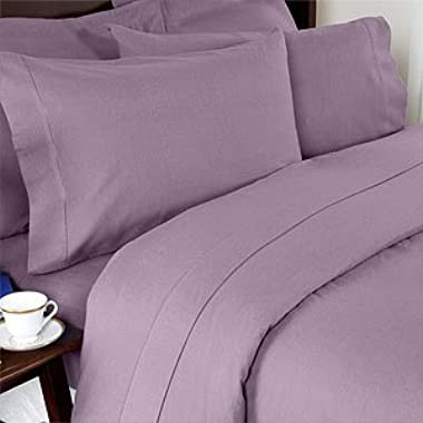 Grandeur Linens 1000 Thread Count Four (4) Piece Olympic Queen Size Lavender Solid Bed Sheet Set, 100% Egyptian Cotton, Deep Pocket
