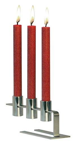 AMABIENTE - Designcandles Designcandles Myc3 3er Kerzenleuchter Plus 6 Kerzen 19 in Box, Edelstahl,...