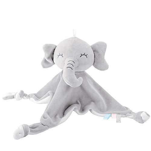Lekebaby Schnuffeltuch Baby Schmusetuch Elefant, Kuscheltuch Baby Kuscheltier für Neugeboren Junge und Mädchen, Baby Spielzeug 0 Monate - Grau Weiß
