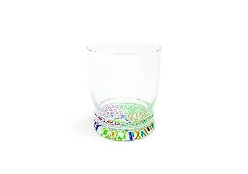 Excelsa Maioliche Set 6 Bicchieri Acqua con Fondo Decorato, 340 ml, Vetro, Multicolore