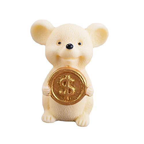 JujubeZAO Figur, Kunstharz, Geldschein, Glücksratte, Tierfiguren, Statue, DIY, Mini-Gartentisch Gelb 7