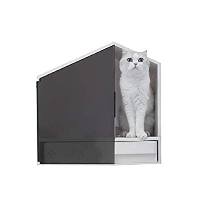 Furrytail Glow House Cat Litter Box, Semi-Enclosed and Front Door Entrance Cat Litter Box with Litter Scoop, Premium Design and Practical Use Litter Box for Kittens