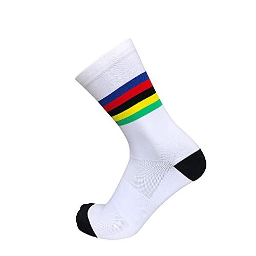 ZhuaKafeEU Calcetines de Ciclismo Hombres Deportes al Aire Libre COMPETROS Profesionales COMPETROS BICIS (Color : White)