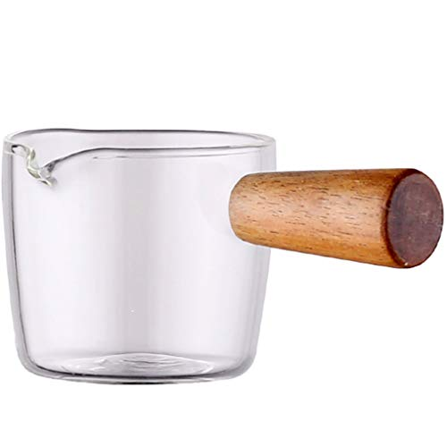 Goeielewe Glass Milk Cup Jug with Wood Handle, 3-Ounce Milk and Cream Pitcher, Shot Glasses Espresso Parts Heat Resistant Glass Creamer for Coffee Tea or Maple Syrup Serving