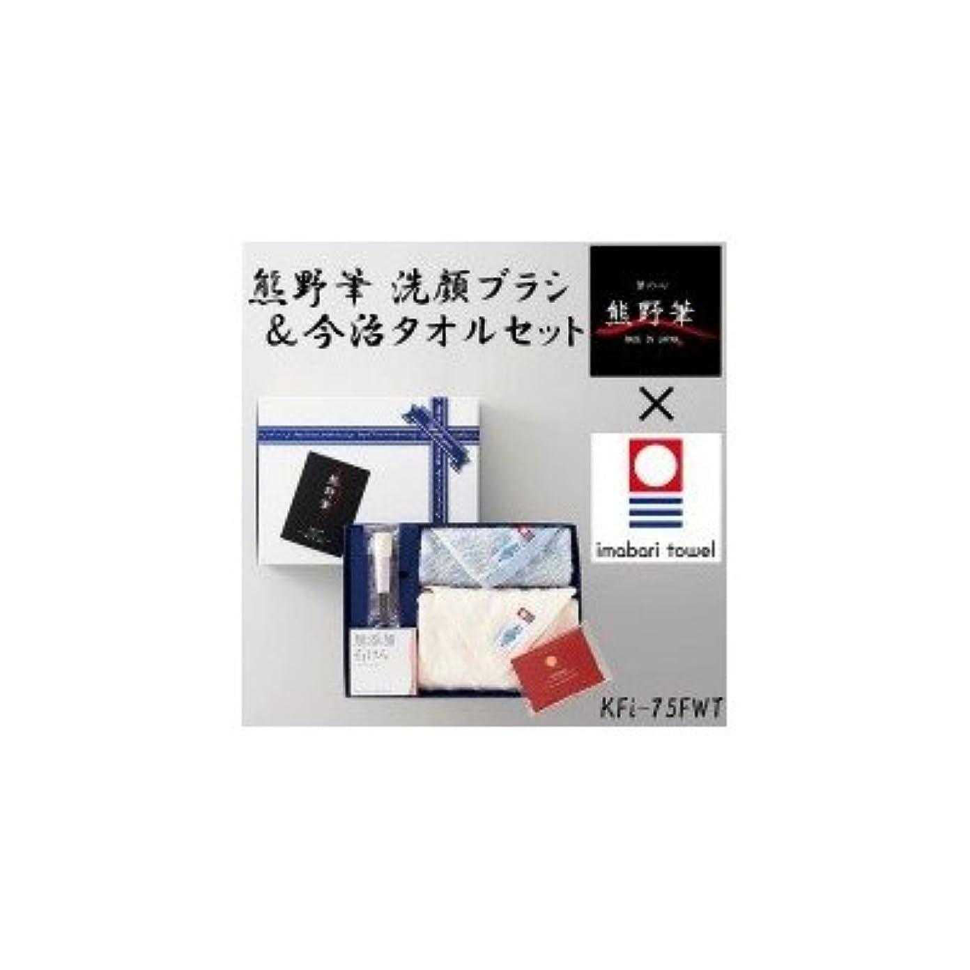 塩辛いディベート差別的熊野筆と今治タオルのコラボレーション 熊野筆 洗顔ブラシ&今治タオルセット KFi-75FWT