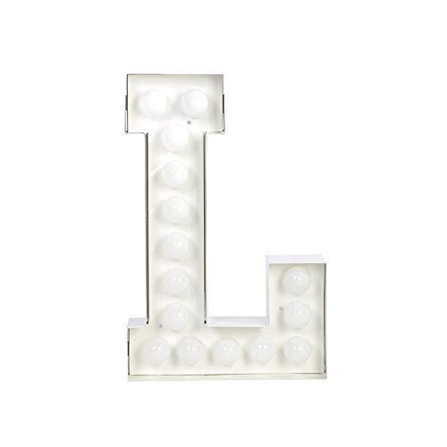 Seletti 01408_L_R99998 Vegaz Lettre L avec ampoules LED Métal Blanc E27 60 cm
