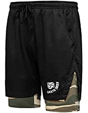 MANLUODANNI Men's Running Gym 2 in 1 Sports Shorts Breathable Outdoor Workout Training Shorts with Pockets
