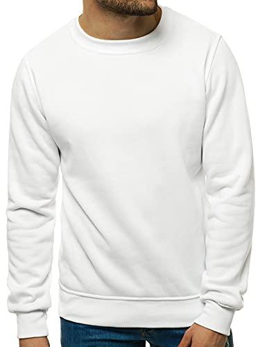 OZONEE Herren Sweatshirt Pullover Langarm Farbvarianten Langarmshirt Pulli ohne Kapuze Baumwolle Baumwollmischung Classic Basic Rundhals-Ausschnitt Sport 777/025B L WEIß