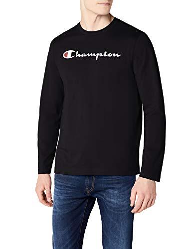 Champion Herren Classic Logo Langarm T-Shirt, Schwarz, L