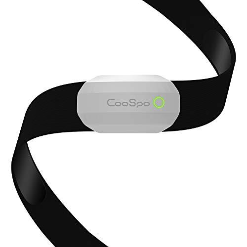 CooSpo Frecuencia de Cardíaca Monitor Sensor Banda Ant+ y Bluetooth HRM Sensor de Pulsómetros con Pecho Funciona con Aplicaciones de Fitness, Ciclocomputadores