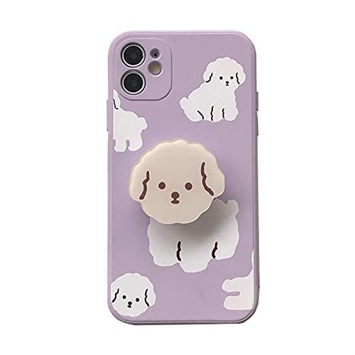 ZYQZYQ Caja del teléfono del Soporte del Soporte del Soporte Plegable del Perro de la Historieta para iPhone TPU a Prueba de Golpes (Color : 01, Material : For iPhone 7 Plus)