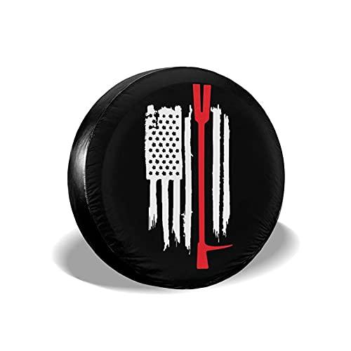 Hokdny Cubierta De Rueda De Neumático De Repuesto Bandera Americana Hecha Jirones Delgada Línea Roja Cubiertas De Neumáticos Universales Impermeables A Prueba De Polvo