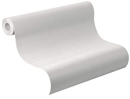 Rasch Tapete 415735, Vliestapete home style in hellem Grau mit Streifen mit dezenter Putz Struktur, hellgrau
